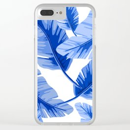 Blue Tropical Leaves Print Clear iPhone Case