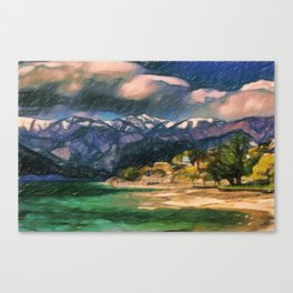 Storm over the lake Canvas Print