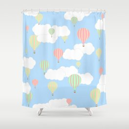 Hot Air Balloon In the Sky Shower Curtain