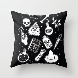 Witchy Essence Black Throw Pillow
