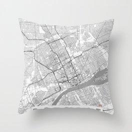 Detroit Map Line Throw Pillow