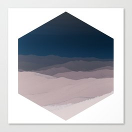 Hexagon Landscape - Dark Blue & Light Dusky Pink - Minimalist Nature Canvas Print