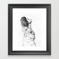 Pretty Lady Illustration Woman Portrait Beauty Framed Art Print