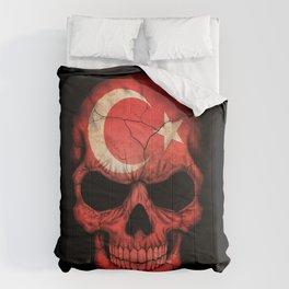 Dark Skull with Flag of Turkey Comforters