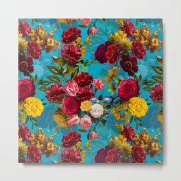 Vintage & Shabby Chic - Midnight Botanical Flower Tropical Garden Metal Print