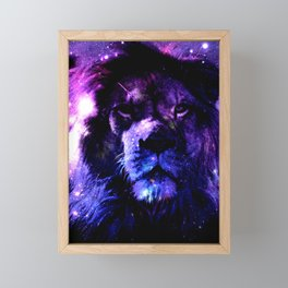 Lion leo purple Framed Mini Art Print
