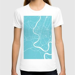 Bangkok Thailand Minimal Street Map - Turquoise and White T-shirt