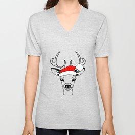 Antlers Deer With Santa Claus Hat, Magic Reindeer Unisex V-Neck