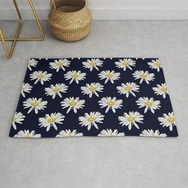 Seasons K Designs Navy Daisy Print Rug