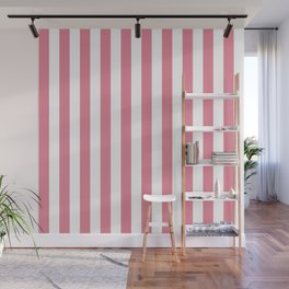 Vertical Stripes Pink & White Wall Mural