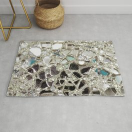 An Explosion of Sparkly Silver Glitter, Glass and Mirror Rug