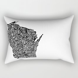 Typographic Wisconsin Rectangular Pillow