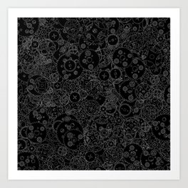 Clockwork B&W inverted / Cogs and clockwork parts lineart pattern Art Print