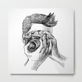 Photographer sketch portrait Metal Print
