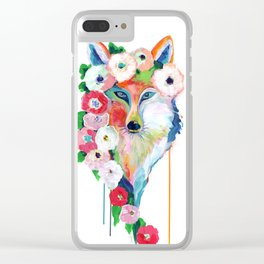 Fox and Flowers Clear iPhone Case