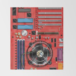Computer Motherboard Electronics. Throw Blanket