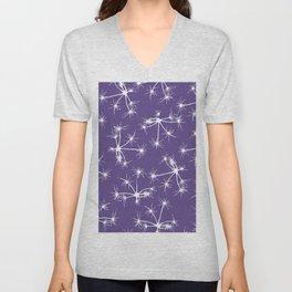 Floral Fireworks - Ultra Violet Botanical Pattern Unisex V-Neck