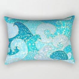 Mermaid Waves And Sea Faux Glitter - Sun Light Over The Ocean Rectangular Pillow