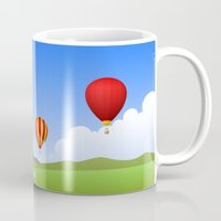 hot air balloons Mugs featuring Hot Air Balloons by Henry Meadowlark