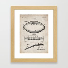 Football Patent - American Football Art - Antique Framed Art Print