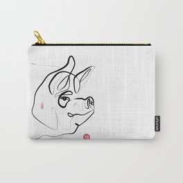 Pig Art, Chinese New Year of the Pig, Original Zen Sumi e ink Painting Carry-All Pouch