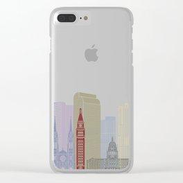 Denver skyline poster Clear iPhone Case