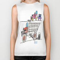pocket fuel Biker Tanks featuring Taking on Fuel by Ryan van Gogh