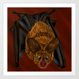 Vampire bat burgundy Art Print