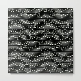 The Mary Collection - musical notes too (white on black) Metal Print