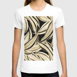 Dracaena Tropical Leaves Pattern Gold Black #2 #tropical #decor #art #society6 T-shirt