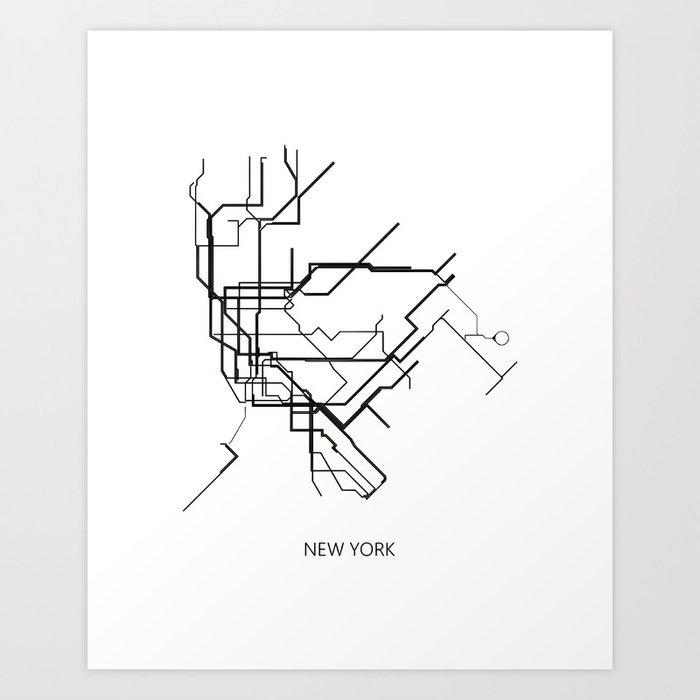 Subway Map New York For Print.New York Subway Map Print New York Metro Map Poster Subway Map Print Metro Map Poster Art Print By Nikolajovanovic