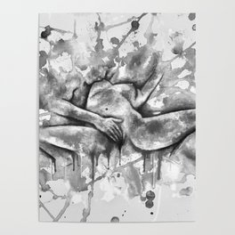 Colorful Climax black&white - Erotic Art Illustration Nude Sex Sexual Love Relationship Mature Poster