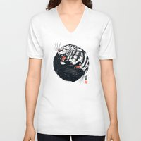 tiger V-neck T-shirts featuring Taichi Tiger by Steven Toang