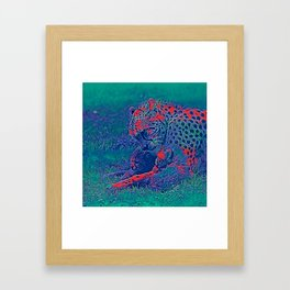 AnimalBlue_Cheetah_001_by_JAMColors Framed Art Print