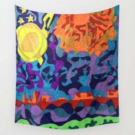 Moon and Sun and Plateaus in the Utah's Desert Wall Tapestry