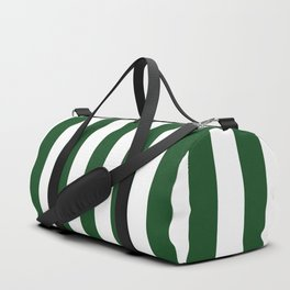 Large Forest Green and White Rustic Vertical Beach Stripes Duffle Bag