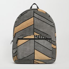 Abstract Chevron Pattern - Concrete and Wood Backpack