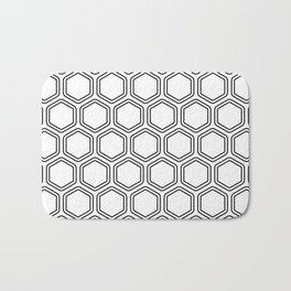 Seamless Monochrome Artistic Beehive Hexagonal Geometric Pattern Bath Mat