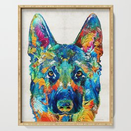 Colorful German Shepherd Dog Art By Sharon Cummings Serving Tray