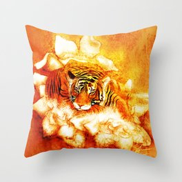 A Relaxed Fire Tiger On Gardenias Throw Pillow