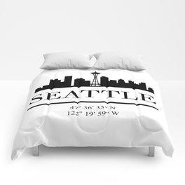 SEATTLE WASHINGTON BLACK SILHOUETTE SKYLINE ART Comforters