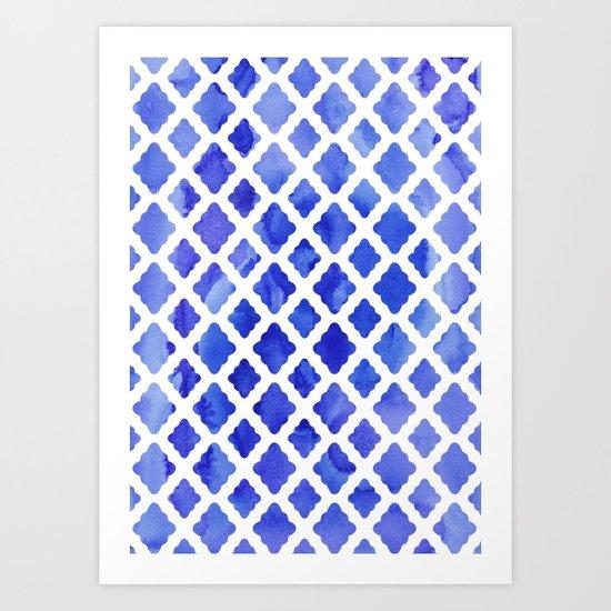 Watercolor Diamonds in Cobalt Blue Art Print