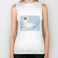 seal Biker Tanks featuring Cool seal by Michelle Behar
