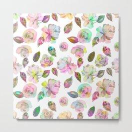Modern elegant hand painted girly roses leaves pattern Metal Print