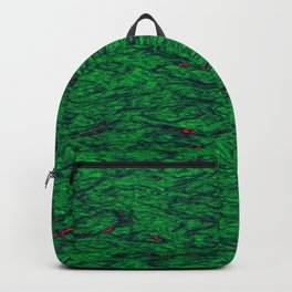 Horizontal metal texture of Iridescent highlights on green waves. Backpack