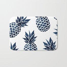 Pineapple Blue Denim Bath Mat