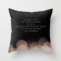 levi Throw Pillows featuring Levi Ackerman by Book Ink Boutique