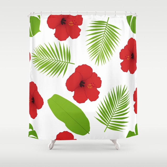 Red hibiscus and palm leaves seamless pattern. Shower Curtain
