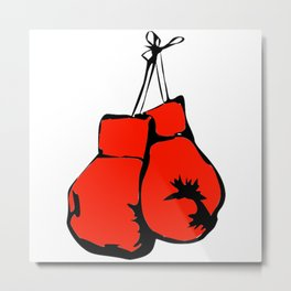Hanging Boxing Gloves Metal Print
