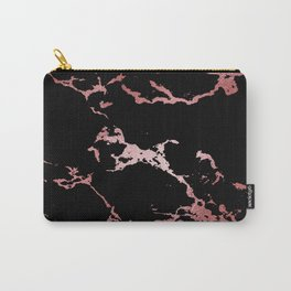 Black Rose Gold Marble Carry-All Pouch